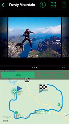 アプリ『OLYMPUS Image Track』で映像とログ情報を一画面に表示可能。映像上の移動に合わせて地図や高度計のマーカーも動く。