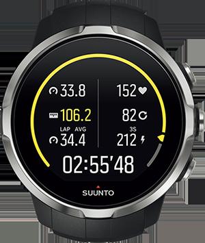時刻とスタートからの時間、距離、ペースなどを一画面で確認できる機種も。自分の好みに表示を変えられるタイプもある。