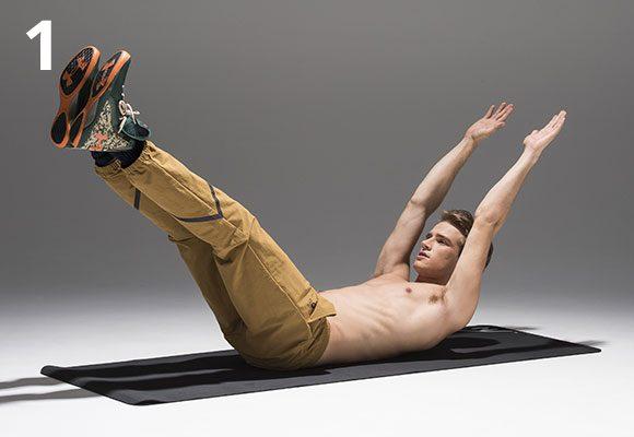 床に仰向けになる。頭を床から浮かして、腕と脚を伸ばして斜め上方に上げる。