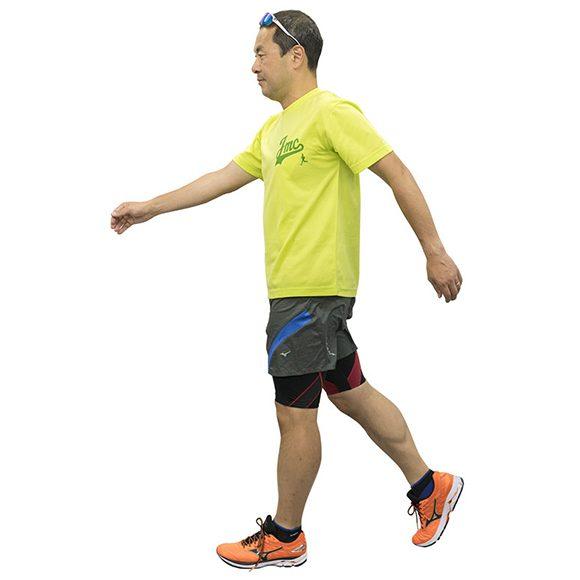 肘を伸ばして腕を大きく振る速歩きでは1分間の歩数は120。腕振りで姿勢がよくなる。