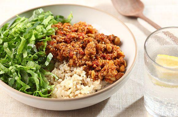 豚挽き肉と大豆のタコライス