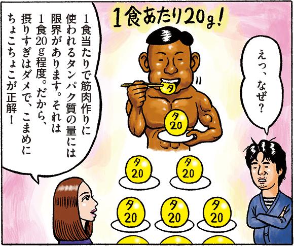 川崎:えっ、なぜ? 杉島:1食当たりで筋肉作りに使われるタンパク質の量には限界があります。それは1食20g程度。だから、摂りすぎはダメで、こまめにちょこちょこが正解!