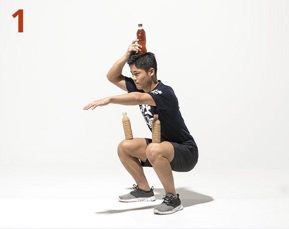 ペットボトル・スクワット1