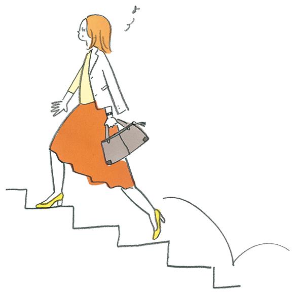 階段を1段飛ばしでカッコよく上がる